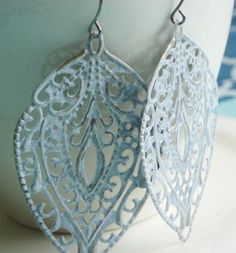 Large Statement Earrings White Lace