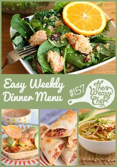 Today's menu of easy dinner recipes for the week contains Mexican and Southwest inspired recipes plus an extra salad and pot roast thrown in for variety. Dig in!