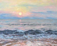 beach scenes watercolor paintings | Watercolor Landscape Painting Of Atmospheric Beach Scene