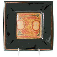 Maishe Dickman Stoneware Shaner Red and Tenmoko Black Square Plate, Artistic Artisan Pottery