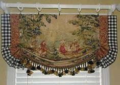Beautiful way to show off that toile fabric scene. Custom Made French Country Bosporus Toile Vintage Red Covington Balloon Valance French Country Decorating, Window Decor, Country Decor, Curtains, Country Kitchen Curtains, Country Kitchen, Mediterranean Home Decor, Vintage Curtains, French Country Kitchens
