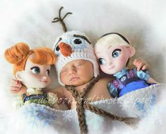 Frozen newborn photography - crochet Olaf hat - Anna and Elsa dolls - www.facebook.com/thestitchpoet