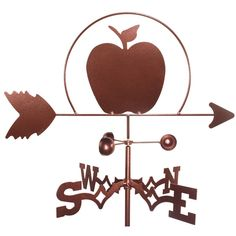 Add this stylish weathervane to your home for a personalized touch featuring an Apple design. The weathervane is constructed from durable, weatherproof steel with a copper finish for a fun accent arou