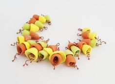 Orange Yellow Green Bell Flower Beads - 16 Pre-Wired Handmade Polymer Clay Flowers - Jewelry Crafts Supplies - The Blue Hutch by TheBlueHutch on Etsy https://www.etsy.com/listing/510350869/orange-yellow-green-bell-flower-beads-16