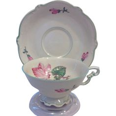 Heinrich and Co. #15057 Cyclamen Teacup, Saucer, and Luncheon Plate Bavaria Germany