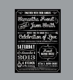 Chalkboard Wedding Invitations - Vintage Antique Victorian Cottage Chic Rustic Chalkboard Wedding In Wedding Invitation Message, Chalkboard Wedding Invitations, Vintage Wedding Invitations, Rustic Invitations, Invitation Wording, Invites, Victorian Cottage, Marriage Vows, Vintage Antiques