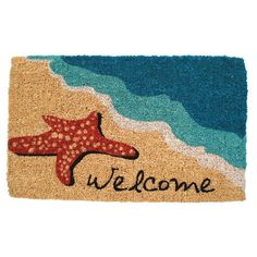 "Starfish Welcome Coir Door Mat-18"" x 30"""