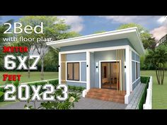 Simple House Plans with 2 bedrooms Shed Roof The House has:-Car Parking and garden-Living room,-Dining Bedrooms, 1 bathroom One Bedroom House Plans, 3d House Plans, Cottage Style House Plans, Simple House Plans, Bungalow House Plans, Bungalow House Design, House Design 3d, Simple House Design, Home Building Design