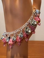 Sterling Bracelet with Silver Tea Cups and Pink Lampwork Beads - Beaded Bracelets - Roses And Teacups  - 1