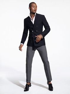 Double breasted with mismatched trousers preppy mens fashion, suits, style, swag Preppy Mens Fashion, Nautical Fashion, Mens Fashion Suits, Fashion Moda, Womens Fashion, Grey Trousers, Grey Pants, Navy Sport Coat, Suit Up