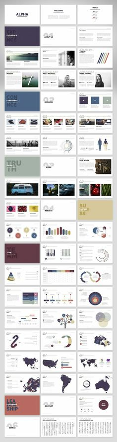 Overall layout / template / concept graphics / tables & chart ideas Alpha Design Presentation, Presentation Slides, Presentation Templates, Business Presentation, Web Design, Slide Design, Layout Design, Startup, Keynote Template