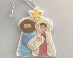 Holy Family Ornament -- Felt Nativity -- Felt Christmas Ornament -- Felt Nativity Ornament -- Felt Baby Jesus Ornament -- Nativity Gift Tag