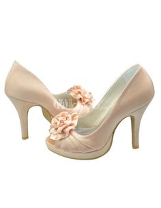 Grace Champagne Satin Floral High Heel Shoes For Bride. See More Bridal Shoes at http://www.ourgreatshop.com/Bridal-Shoes-C919.aspx
