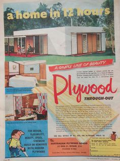 MID CENTURY MODERN PLYWOOD AD 1959 original vintage retro AUSTRALIAN advertising