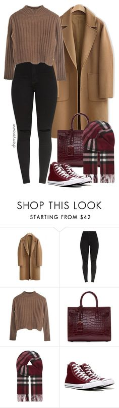 """Rainy day"" by cherrysnoww ❤ liked on Polyvore featuring WithChic, Yves Saint Laurent, Burberry and Converse"