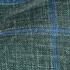 Dreaming of Monday Green Checked 7-Fold Wool Silk Linen Tie Fabric