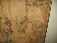 Framed Tapestry Of 19th Century Dance-Party/Made In France