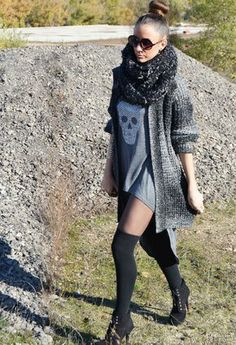 would ♥ this even more if the top was longer!  Silver skull with grey tanktop, knit grey sweater jacket, and thigh high socks with booties