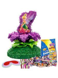 Tinkerbell Pinata Kit by COSTUME SUPERCENTER. $34.99. It'll be hard for your guests to not believe in fairies when you bring out this Tinkerbell Pinata Kit. This kit includes a theme pinata, a bag of filler and a blindfold. The purple and green pinata is shaped like a flower and features Tinkerbell sitting on top of it. Everyone is going to be dying to pull on the blindfold to take a swing at this pretty flower to make the treats shower down like pixie dust! If you're looking ...