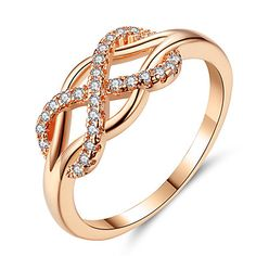 Beiver New Cubic Zirconia Crystal Infinite Rings For Women Fashion Design Statement Rose Gold Color Ring Wedding Jewelry Gold Diamond Wedding Band, Rose Gold Engagement Ring, Wedding Engagement, Solitaire Engagement, Wedding Attire, Wedding Dresses, Rose Gold Infinity Ring, Infinity Rings, Ring Rosegold