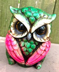 vintage piggy bank  1970s green/neon pink ceramic owl by mkmack, $27.00