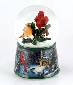 water globes snow globes | Christmas Cardinals Rotating Snowglobe By Twinkle Enterprise