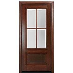 MAI Doors DD4L-1 Delta True Divided Lite, 4-Lite Panel Bottom Mahogany Exterior Single Door