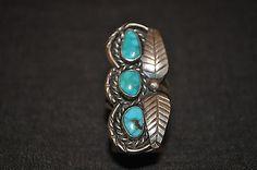 Vintage Sterling Silver Turquoise Leaf Ring Sz 7.5
