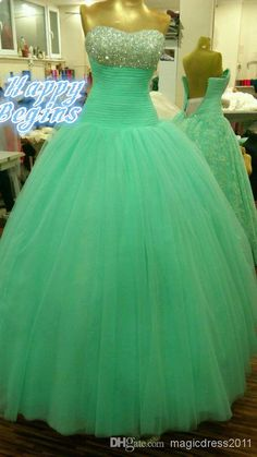 Discount Cute 2014 Crystal Green Fluffy Tulle Long Ball Gown Sweetheart Beads Pleate Quinceanera Dress Prom Dress Cascading Ruffles Sexy Quinceanera Online with $128.55/Piece | DHgate