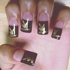 BLACK nail polish with gold playboy design - NAILS - art