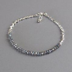 djs Delicate Tiny Faceted Handmade Silver Bead Labradorite Bracelet Sundance