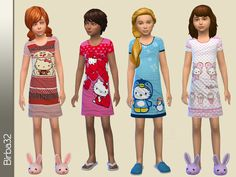 Hello Kitty Nightgown  http://www.thesimsresource.com/downloads/details/category/sims4-clothing-female-child-sleepwear/title/hello-kitty-nightgown/id/1329982/