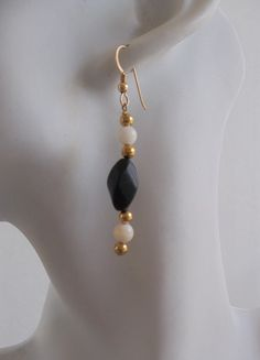 Blackstone and Mother of Pearl Earrings by ShadowoftheCross,