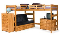 Good space saving design if you have more than 2 kids sharing a room.  You can always replace the futon with a twin sized bed