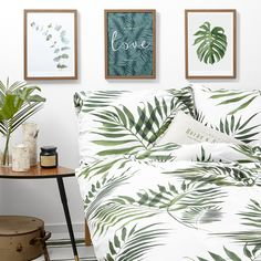 Palm tree White pocket bedding #green #botanic #leaves