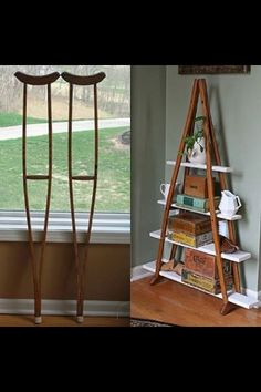 Repurpose crutches into shelves - reminds me of the canoe shelving. I would prefer darker shelving though.