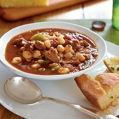Ancho Pork and Hominy Stew - Quick and Easy Pork Recipes for Dinner Tonight - Cooking Light Pork Recipes For Dinner, Healthy Soup Recipes, Ww Recipes, Cooking Recipes, Healthy Meals, Eating Healthy, Healthy Food, Yummy Food, Mexican Pork Stew