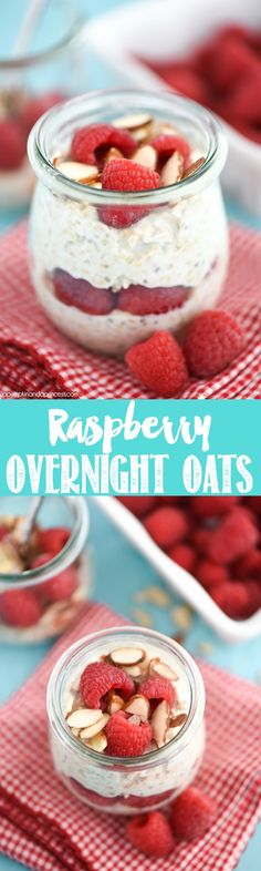 Raspberry Almond Overnight Oats - steel cut oats soaked in greek yogurt and almond milk overnight. Add in your favorite toppings and you have a quick, easy breakfast for on the go!