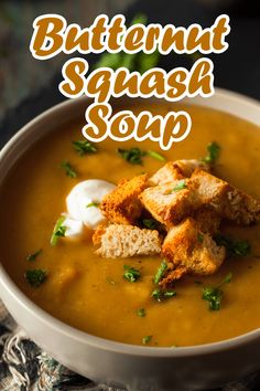 This butternut squash soup recipe is creamy, delicious, and so easy to make! It's the perfect addition to your holiday dinner menu. Acorn Squash Recipes, Butternut Squash Soup, Soup Recipes, Cooking Recipes, Quick Easy Dinner, Canned Pumpkin, Holiday Dinner, Dinner Menu