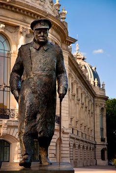 Winston Churchill Statue in front of Petit Palais, Paris France