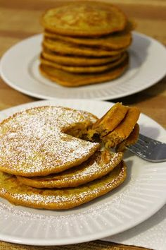 Moist, fluffy and delicious pumpkin spice pancake recipe from A Dash Of Tash.