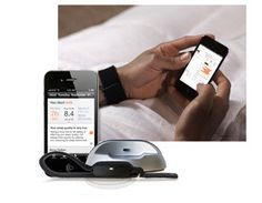 """Lark sleep coach - wristband with silent alarm (vibrations). Uses an """"actigraphy microsensor to detect your unique sleeping patterns.""""  http://www.lark.com/"""