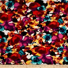 Telio Paola Pique Double Knit Orange/Violette Abstract Rose from @fabricdotcom  This lofty pique fabric consists of 2 very lightweight fabrics fused together. With 25% four way stretch and a beautiful full-bodied drape, this textured medium weight knit fabric is perfect for creating skirts and dresses.