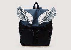 Black PU Leather Backpack with Wing Design