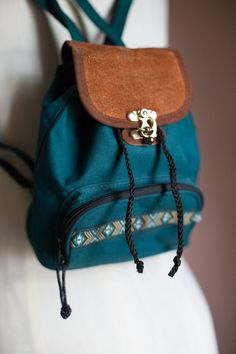 Vintage 90s Grunge Revival Teal Green Mini Backpack BTS a95eae1375a37