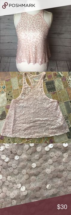 Free People Sequined Tank Top Beautiful Pink Sequined Racerback Free People Tank in Excellent Condition Free People Tops Tank Tops