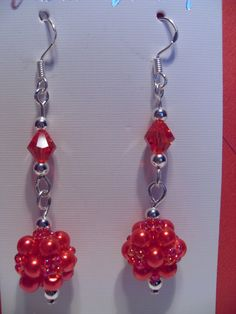 Red Beaded Earrings by SparklingJewelryShop on Etsy, $10.00