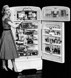"""1952 Crosley Refrigerator - Down with ice deliveries, in with electric refrigerators!  No more emptying """"ice water"""" pans!  Happy homemakers!"""