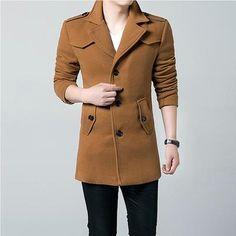 aab14e1434 Winter 2017 Hot Sale Men Windbreaker Men s Trench Coat Men Long section  Casual Jacket Brand Clothing
