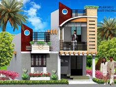 Resultado de imagen para elevations of independent houses House Outer Design, House Front Design, Roof Design, Building Elevation, House Elevation, House Paint Exterior, Exterior Design, Indian House Plans, Front Elevation Designs